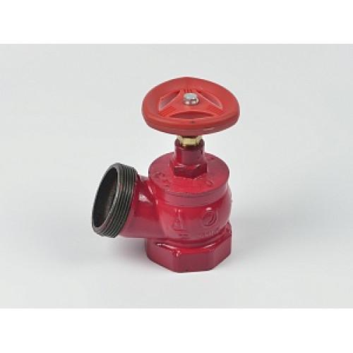 Клапан пожарный чугунный КПК угловой 125° (муфта-цапка)