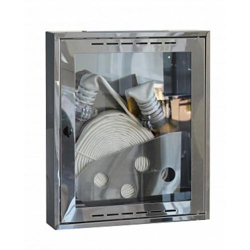 Шкаф пожарный из зеркальной нержавейки Престиж ШПК-310НО (навесной открытый)