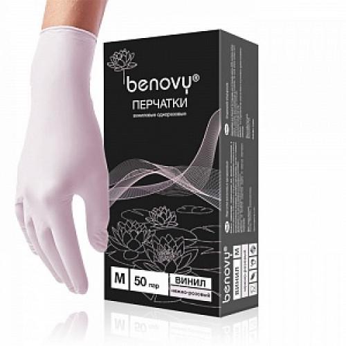 Перчатки виниловые Benovy (размер M) - 50 пар