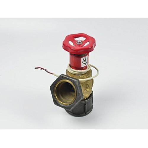Клапан пожарный латунный КПЛ угловой 125° (цапка-цапка) с датчиком положения