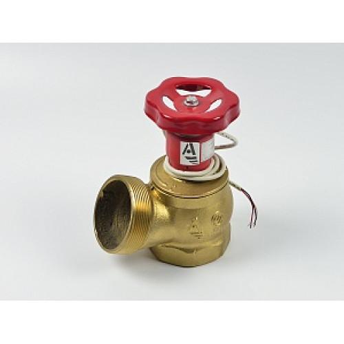 Клапан пожарный латунный КПЛ угловой 125° (муфта-цапка) с датчиком положения
